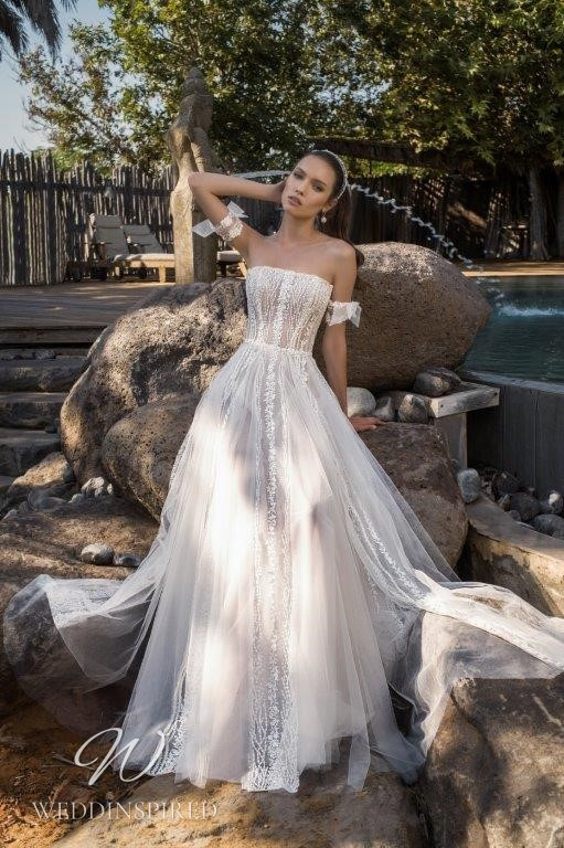 A David Hasbani lace and tulle strapless A-line wedding dress