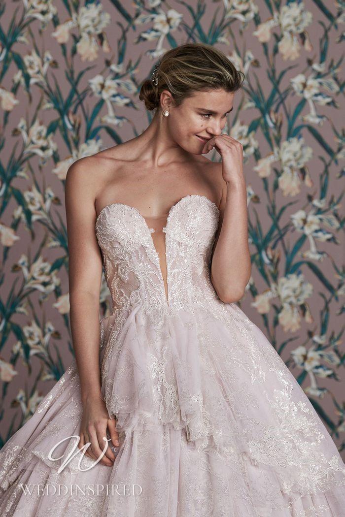 A Justin Alexander 2021 strapless lace A-line wedding dress