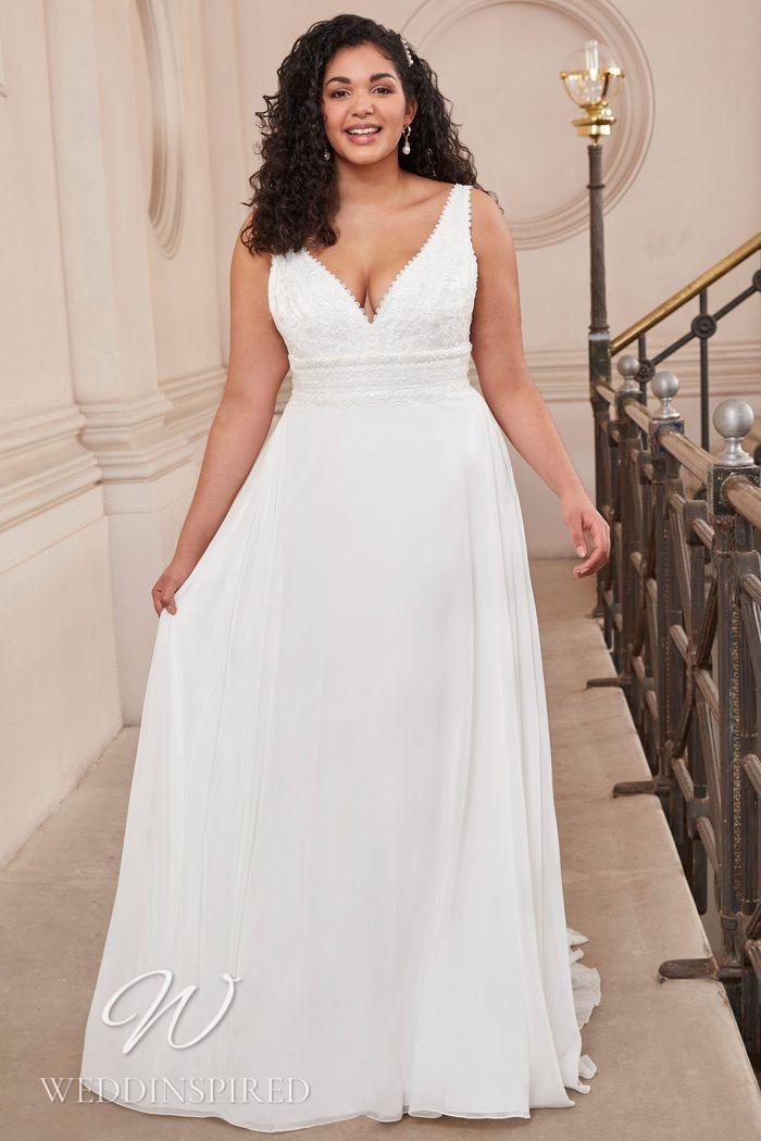 A Justin Alexander 2021 plus size lace and chiffon A-line wedding dress