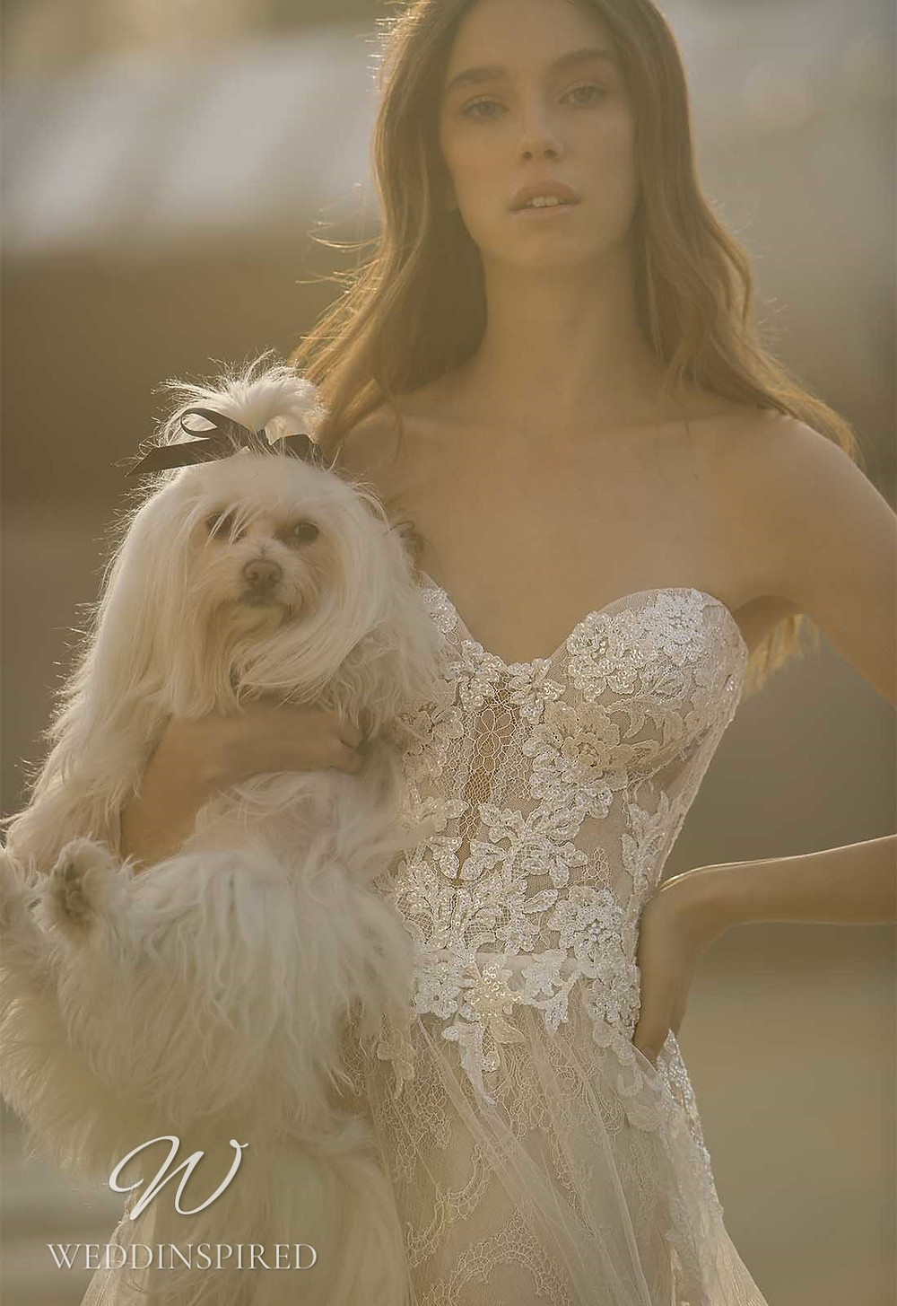 A Pnina Tornai 2021 ivory strapless lace A-line wedding dress