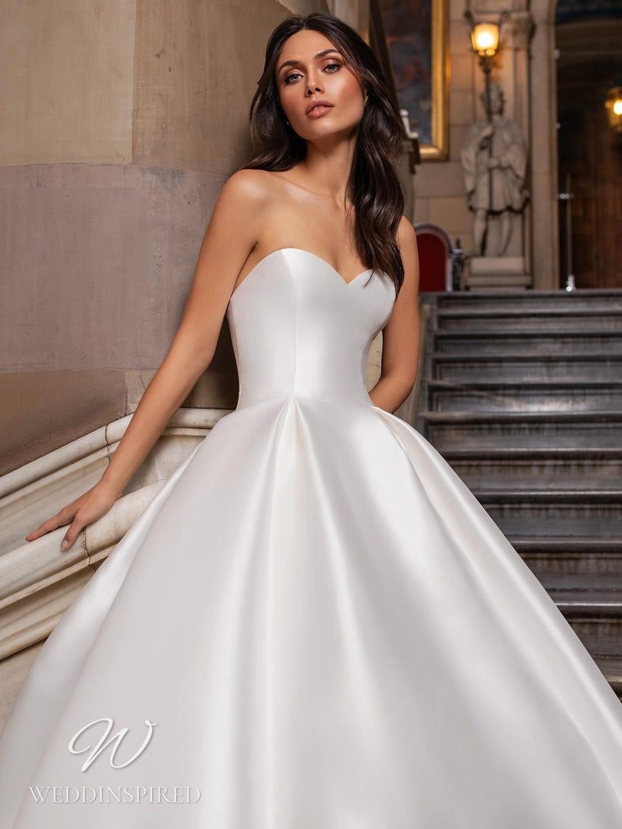 A Pronovias 2021 strapless satin ball gown wedding dress