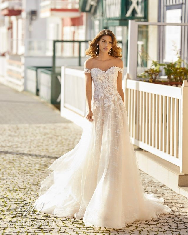 A Rosa Clara 2021 blush lace and tulle off the shoulder A-line wedding dress