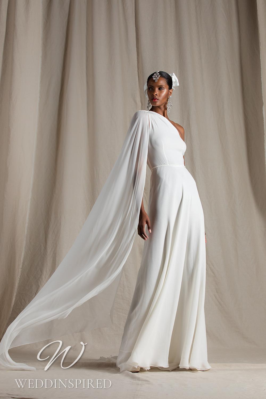 A Naeem Khan 2022 chiffon one shoulder sheath wedding dress