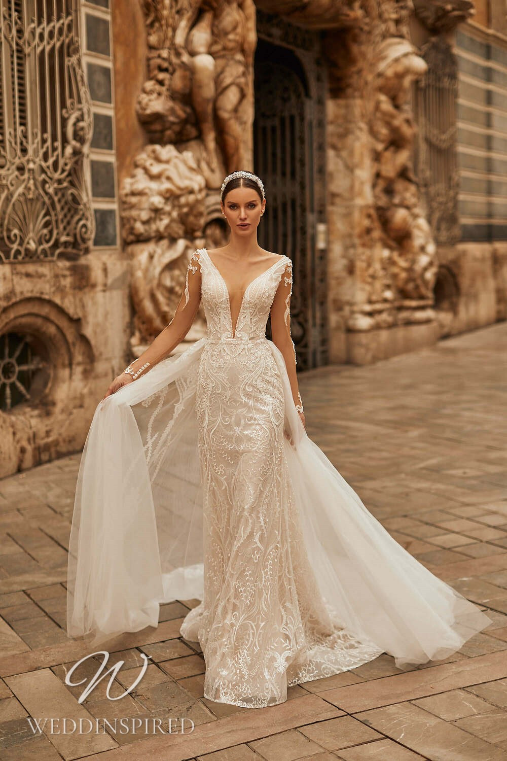 A Royal by Naviblue 2021 lace and tulle mermaid wedding dress with a detachable skirt