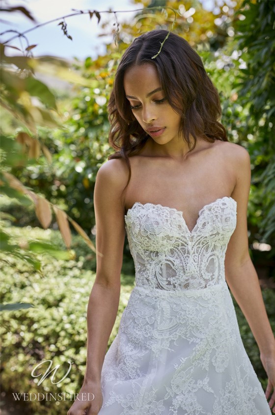 A Monique Lhuillier Bliss Spring 2021 strapless lace A-line wedding dress with a sweetheart neckline