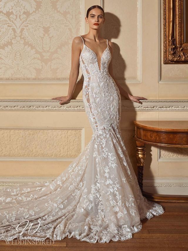 A Galia Lahav 2021 lace v neck mermaid wedding dress with straps and a train