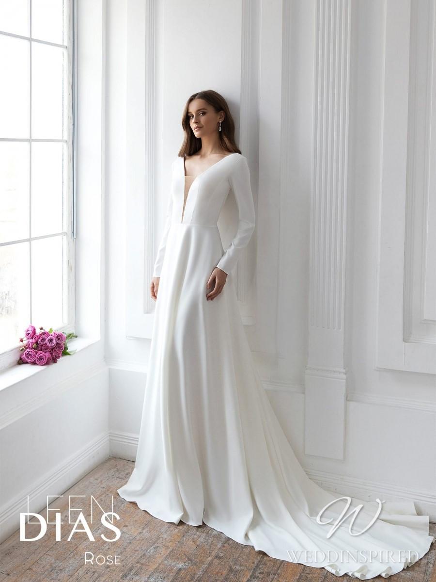 A Leen Dias 2021 simple satin sheath wedding dress with long sleeves