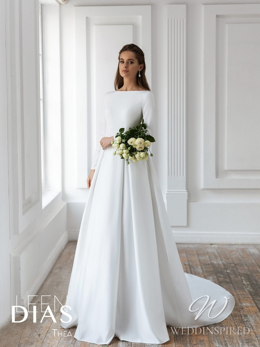 A Leen Dias 2021 modest simple satin A-line wedding dress with long sleeves