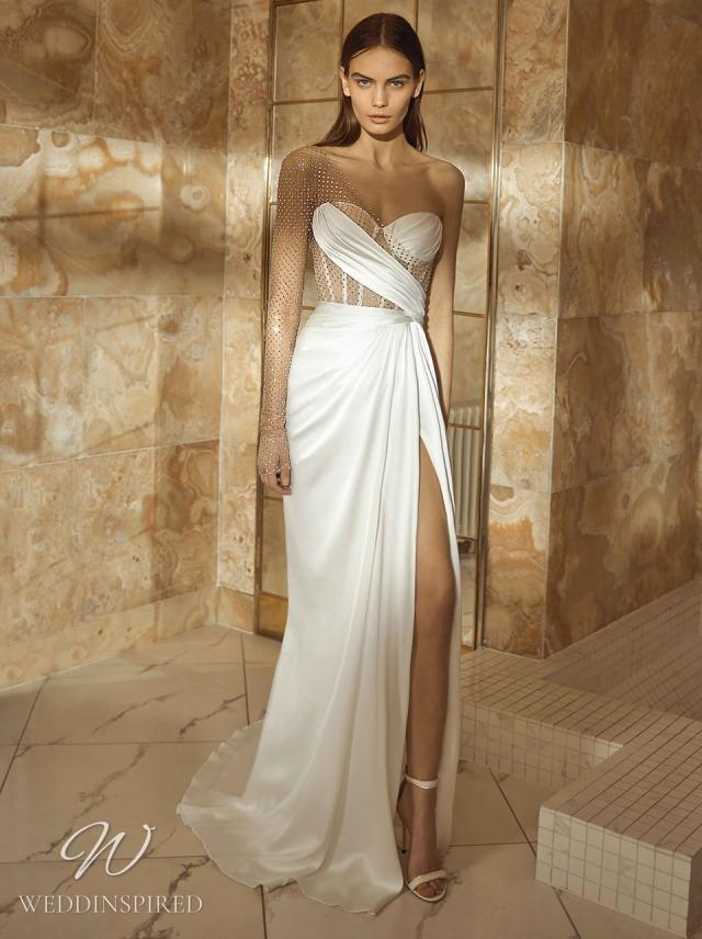 A Galia Lahav 2021 Grecian inspired one shoulder satin sheath wedding dress with mesh details