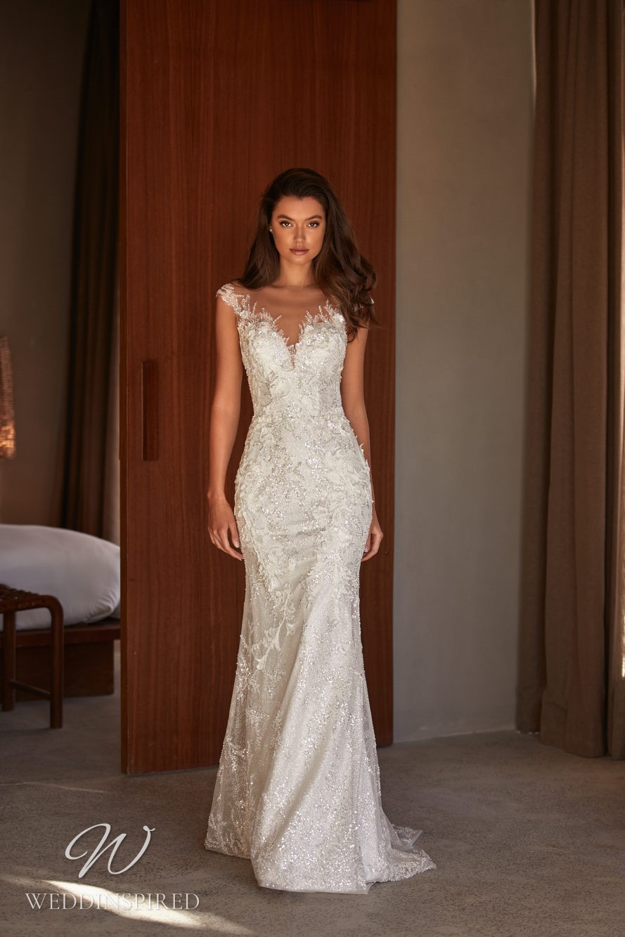 A Milla by Lorenzo Rossi 2021/2022 off the shoulder lace mermaid wedding dress with a v neck