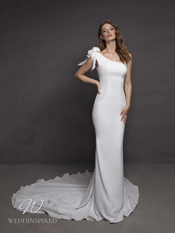 A Riki Dalal 2021 one shoulder simple satin mermaid wedding dress