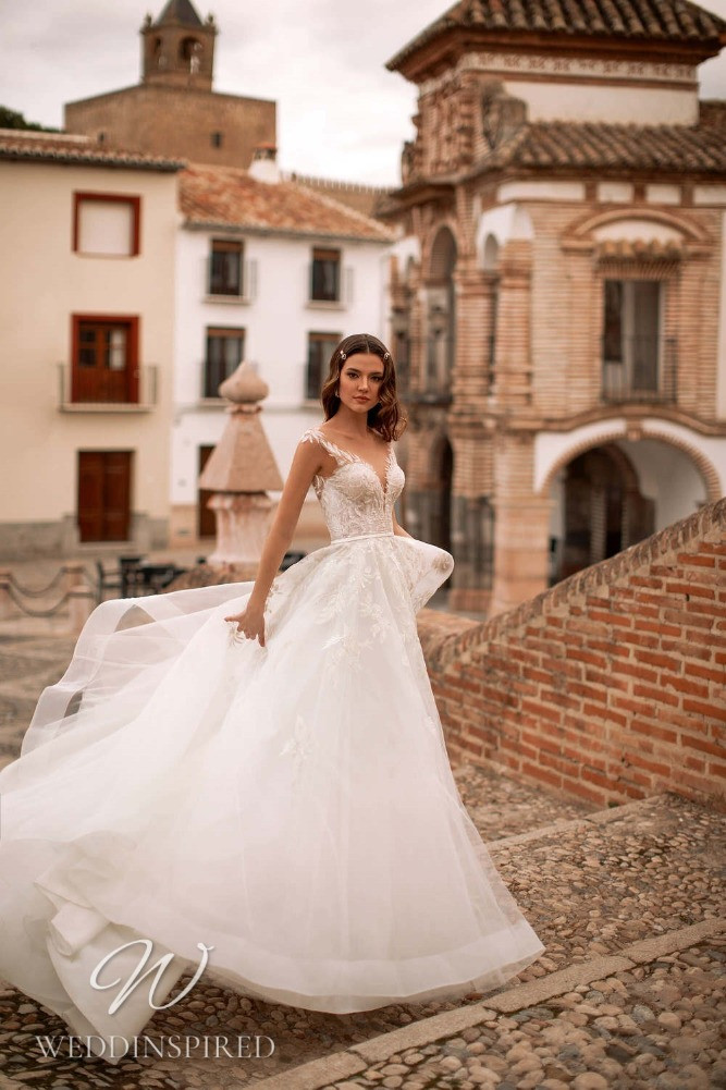 A Nora Naviano 2021 lace and tulle A-line wedding dress
