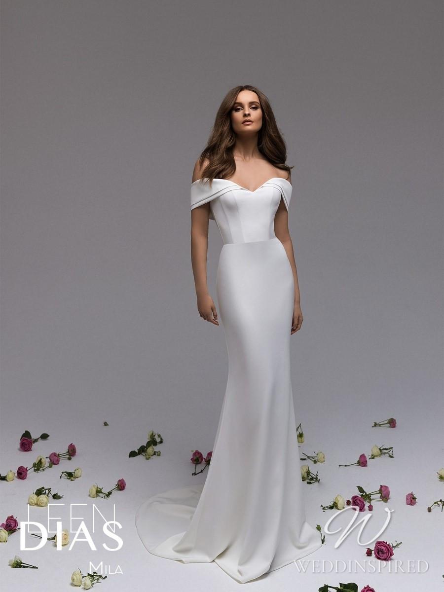 A Leen Dias 2021 simple off the shoulder satin mermaid wedding dress
