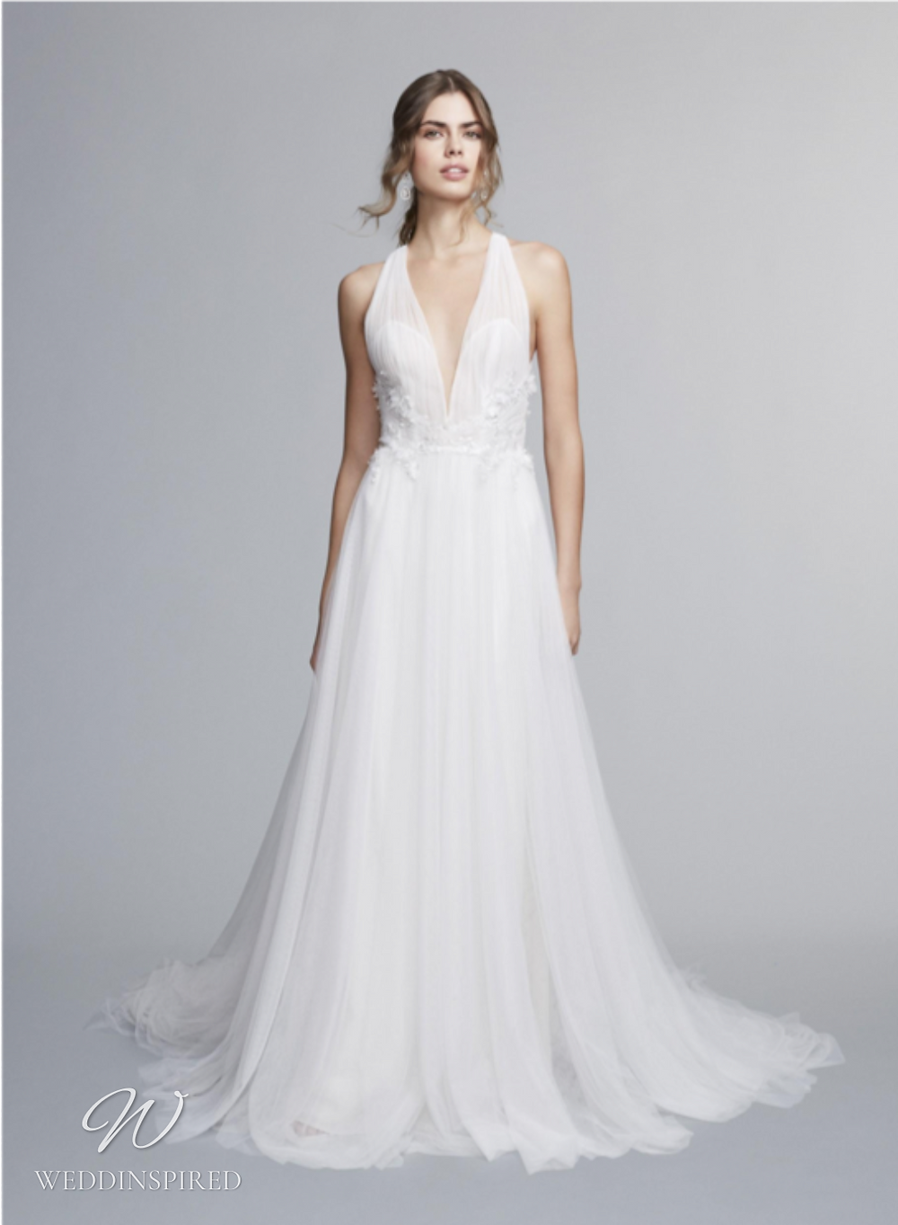 A Marchesa Notte Fall 2021 flowy chiffon halterneck A-line wedding dress