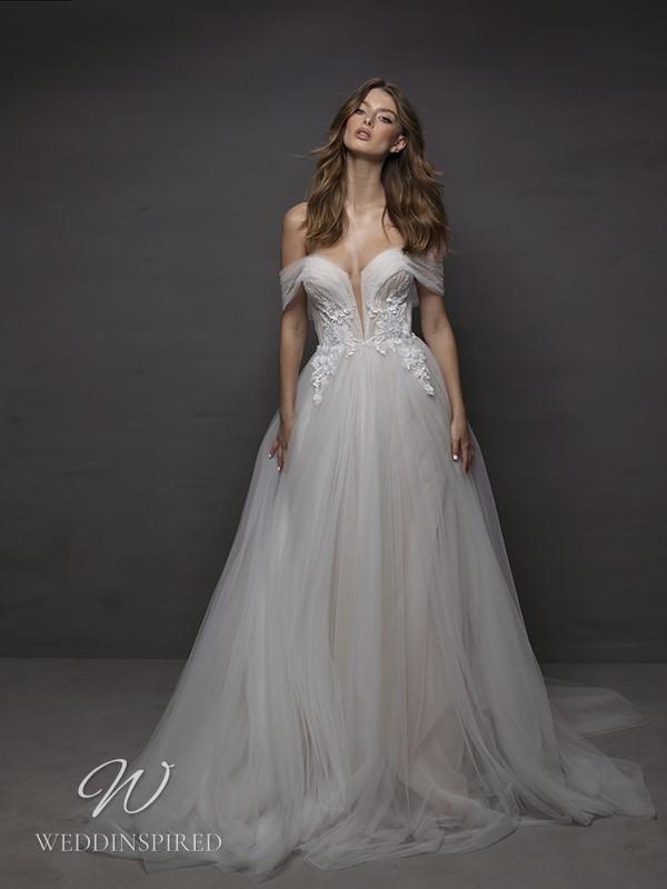 A Riki Dalal 2021 off the shoulder tulle A-line wedding dress