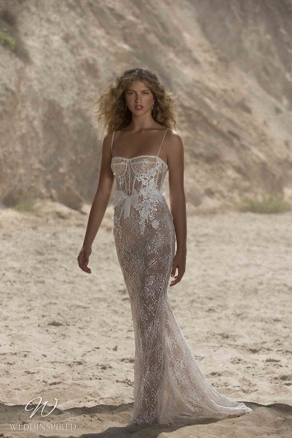 A Muse by Berta sparkly ivory beach mermaid wedding dress with straps