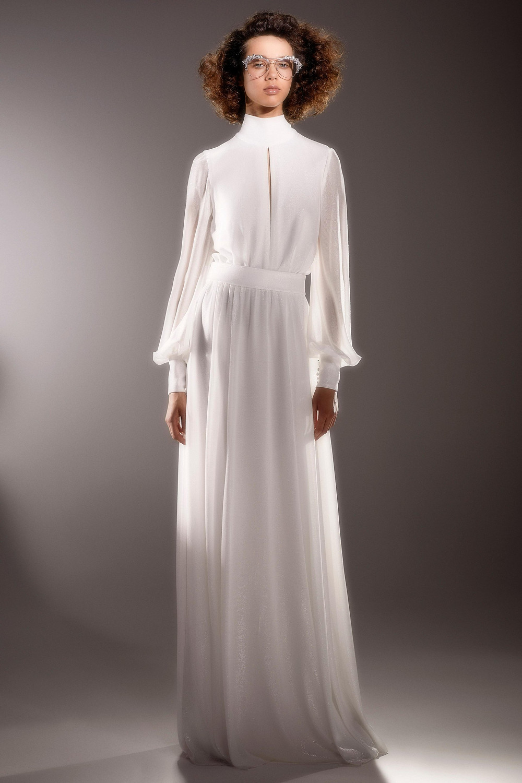 A Viktor & Rolf simple modest sheath wedding dress with long sleeves