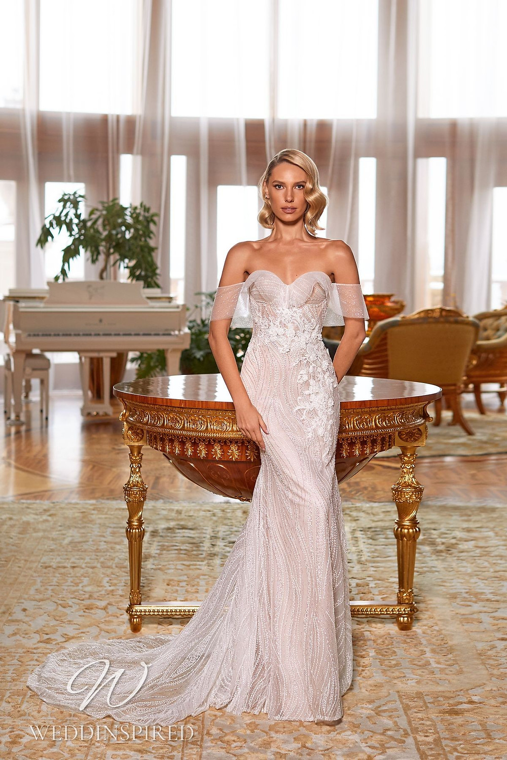 A Pollardi 2021 lace and tulle off the shoulder mermaid wedding dress