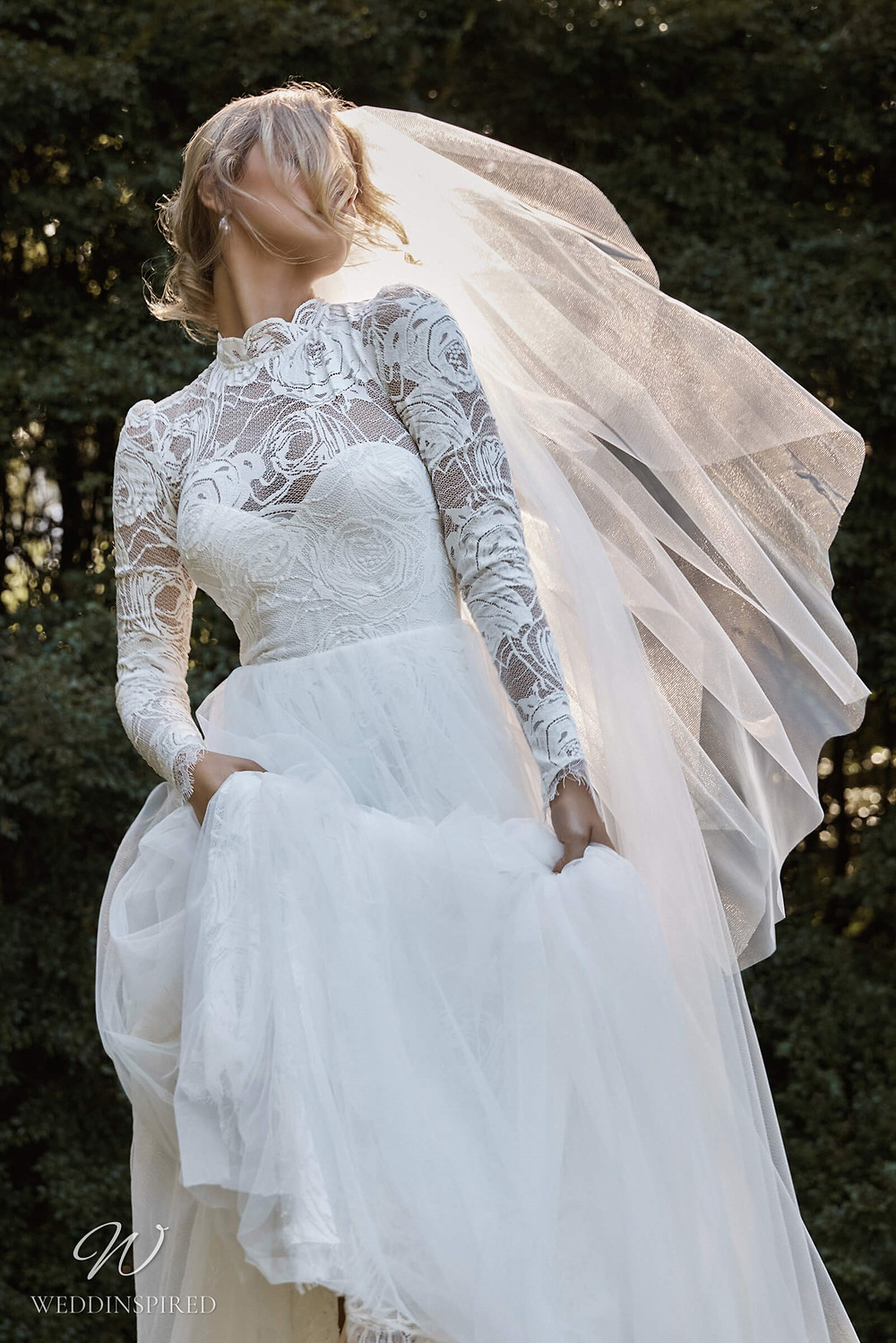 A Grace Loves Lace 2021 lace A-line wedding dress with long sleeves and a high neckline