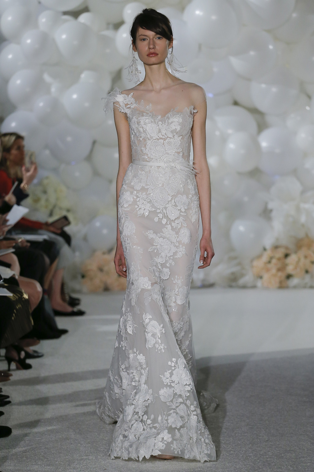 A Mira Zwillinger one shoulder, mermaid wedding dress with flowers