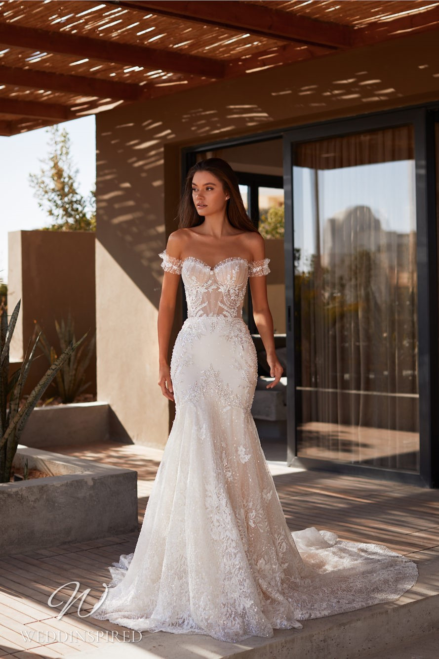 A Milla by Lorenzo Rossi 2021/2022 off the shoulder lace mermaid wedding dress with a train