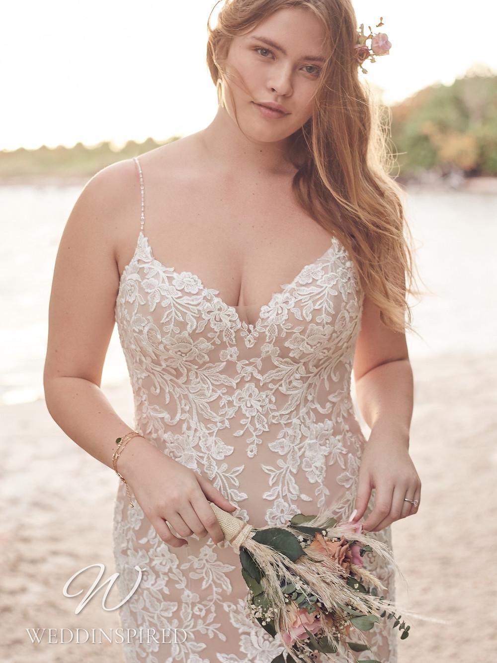 A Rebecca Ingram 2021 plus size ivory lace wedding dress