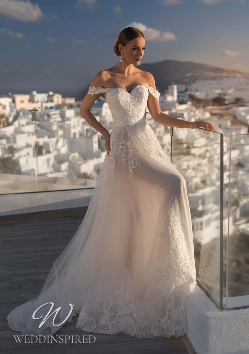 A Blunny 2021 off the shoulder lace and tulle A-line wedding dress