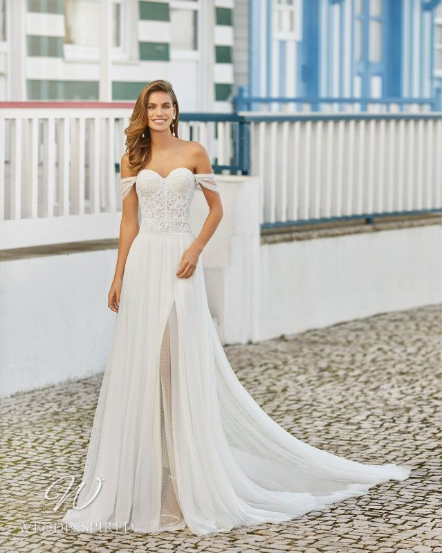 A Rosa Clara 2021 strapless lace and chiffon A-line wedding dress