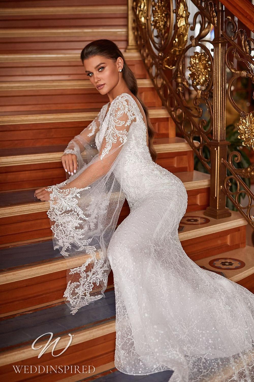 A Pollardi 2021 lace mermaid wedding dress with long sleeves