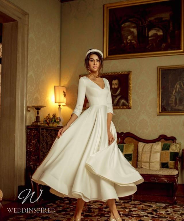A Rara Avis 2021 simple vintage style silk tea length wedding dress with long sleeves
