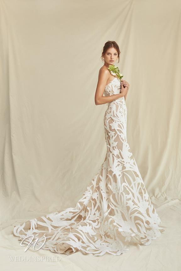 A Oscar de la Renta 2021 strapless print A-line wedding dress
