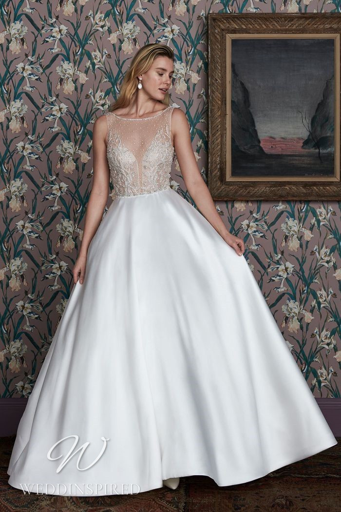 A Justin Alexander 2021 lace and satin A-line wedding dress