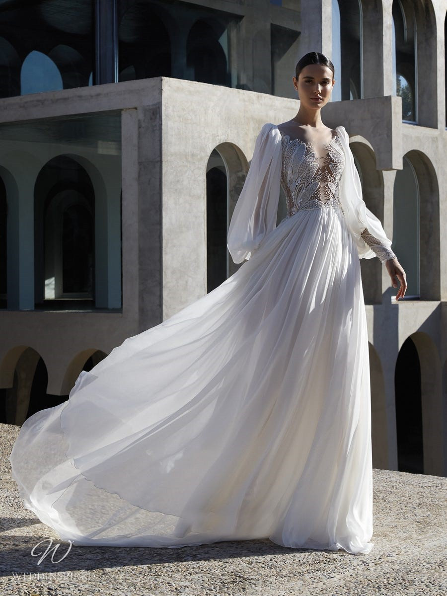 An Atelier Pronovias soft chiffon A-line wedding dress with long sleeves and crystals
