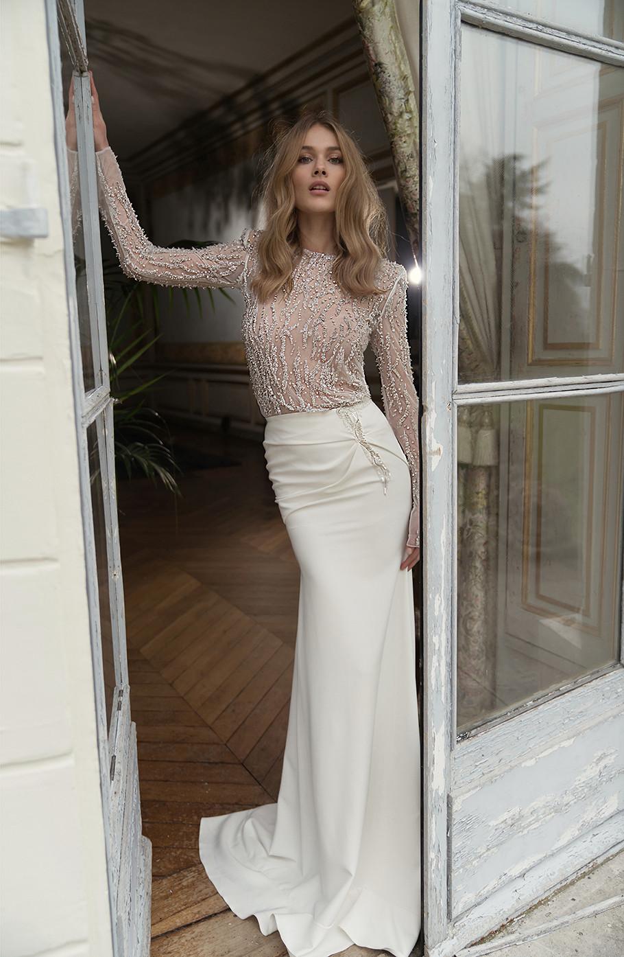 An Inbal Dror sparkly silk and mesh mermaid wedding dress