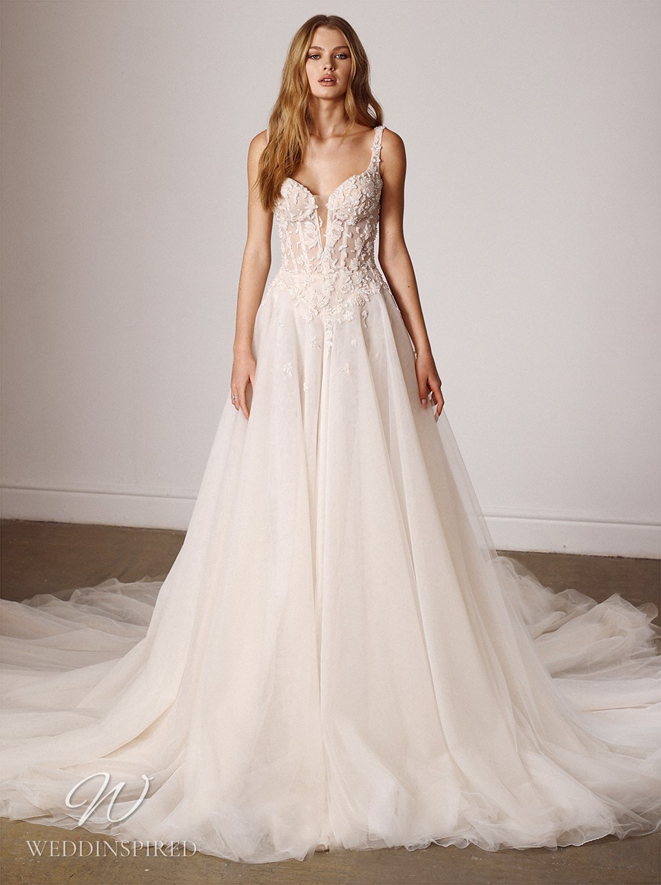 A Galia Lahav 2022 blush tulle A-line wedding dress