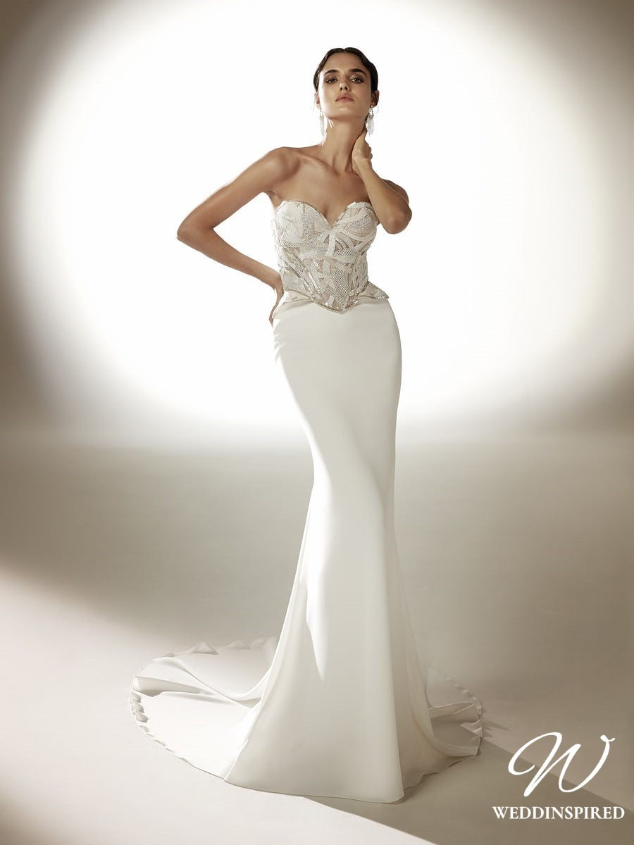 An Atelier Pronovias silk mermaid wedding dress with sweetheart neckline and embellishments