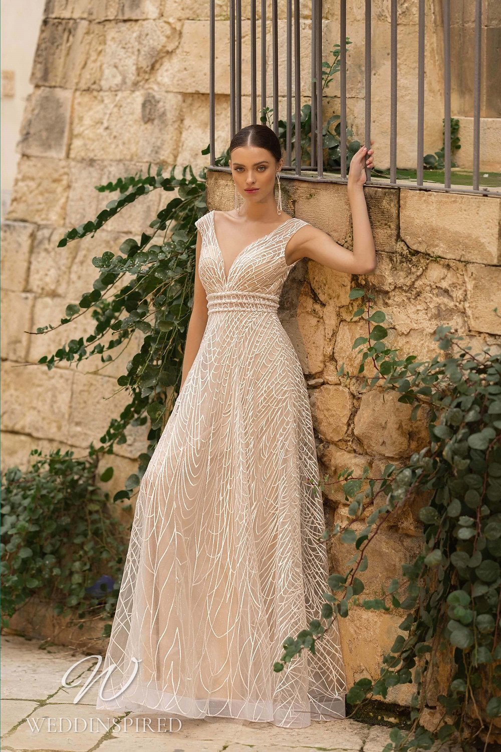 A Lussano 2021 blush tulle A-line wedding dress