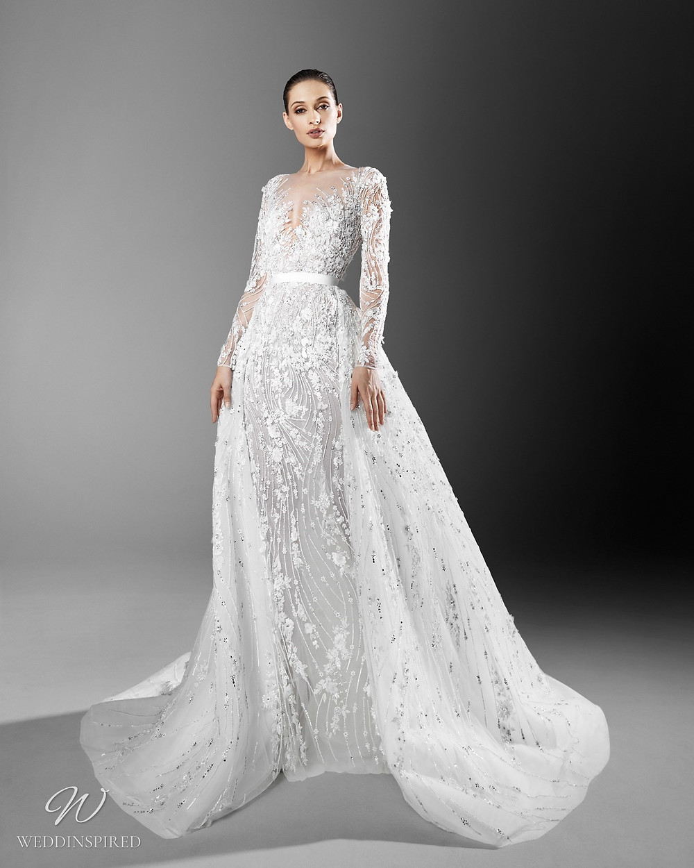A Zuhair Murad crystal embellished mermaid wedding dress with a detachable skirt