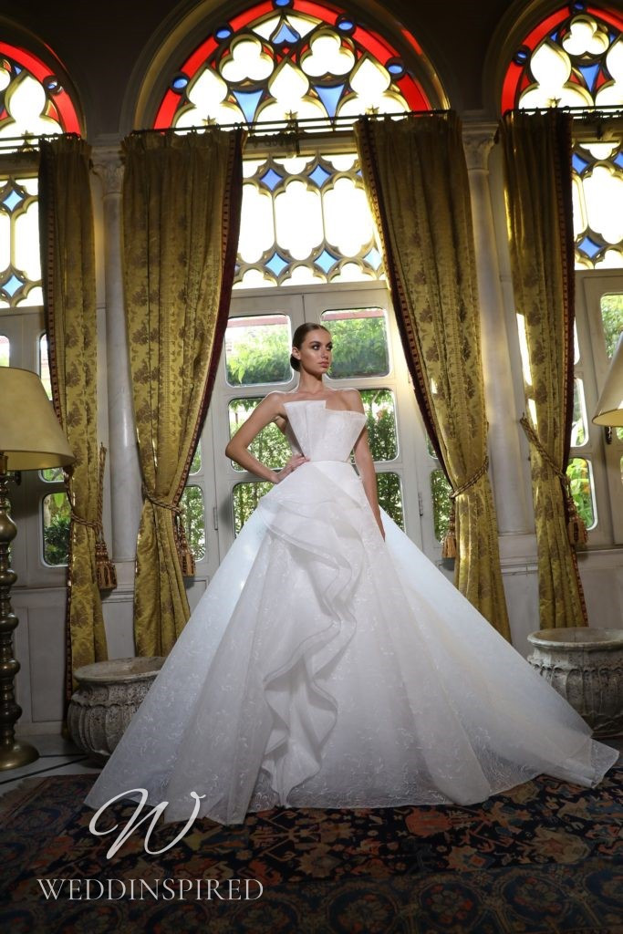 A Georges Hobeika 2021 strapless tulle ruffle princess wedding dress