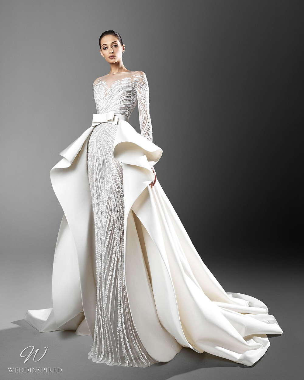 A Zuhair Murad mermaid wedding dress with crystals, a detachable skirt and an illusion neckline