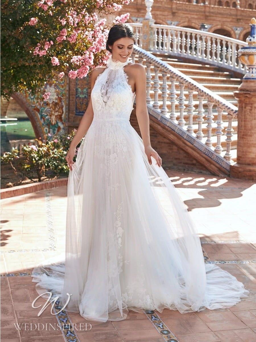 A Marchesa for Pronovias 2022 lace and tulle halterneck sheath wedding dress