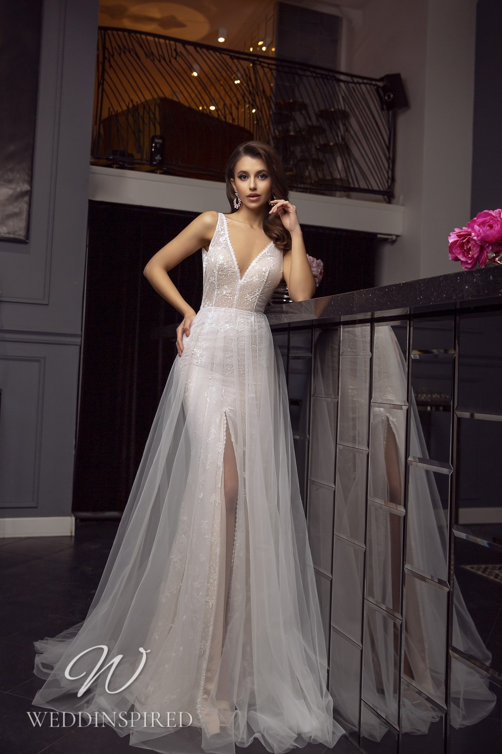 A Tina Valerdi lace and tulle A-line wedding dress