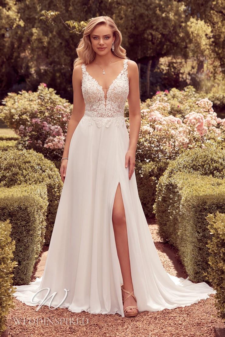 A Sophia Tolli 2021 lace and chiffon A-line wedding dress