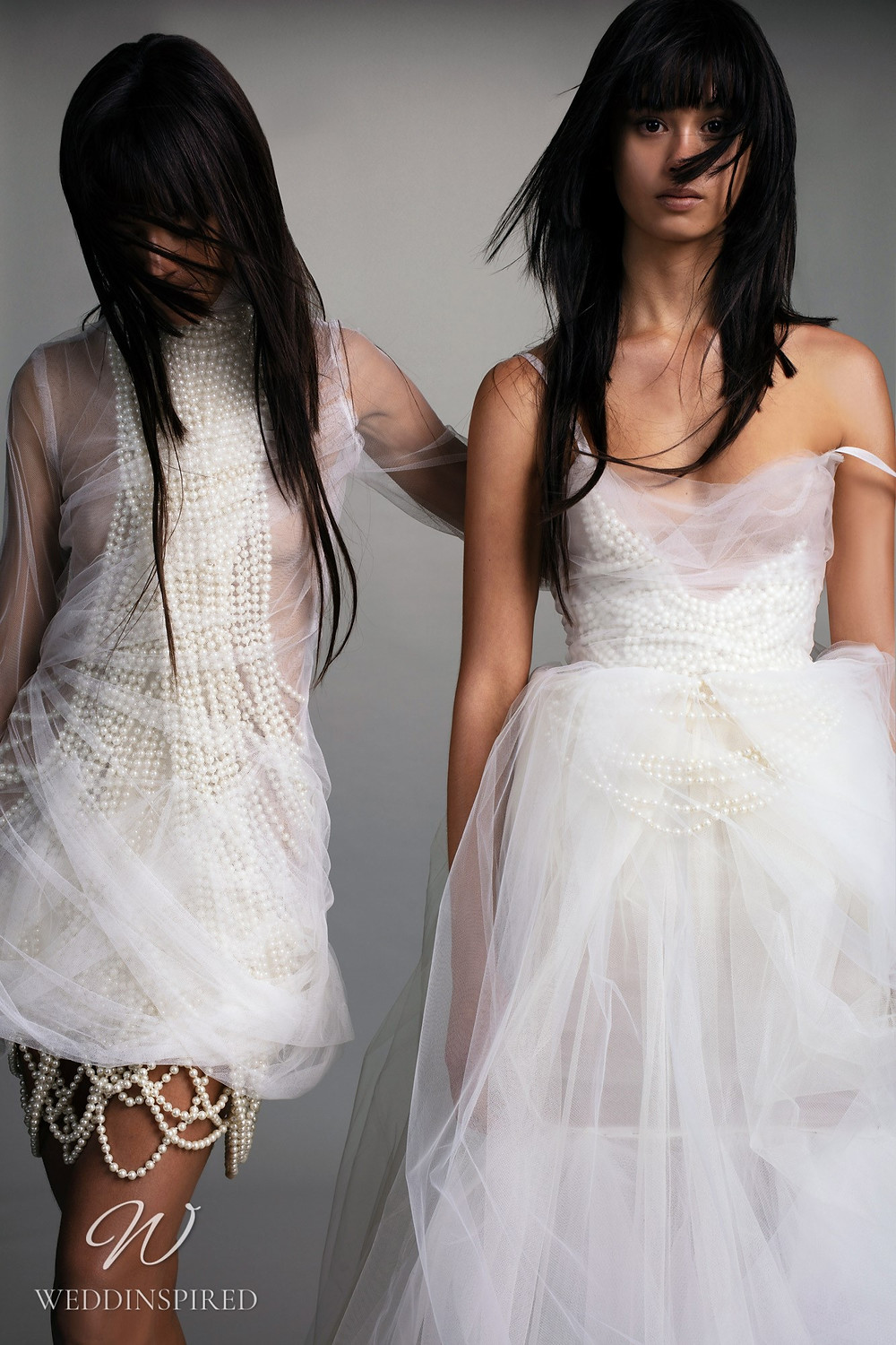 A Vera Wang Fall 2021 tulle A-line wedding dress with straps and pearls