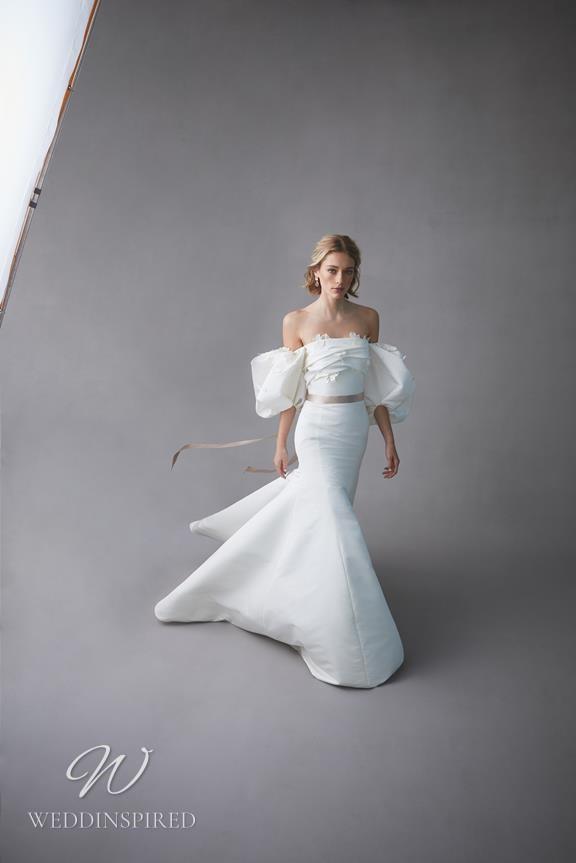 An Oscar de la Renta 2022 strapless taffeta mermaid wedding dress