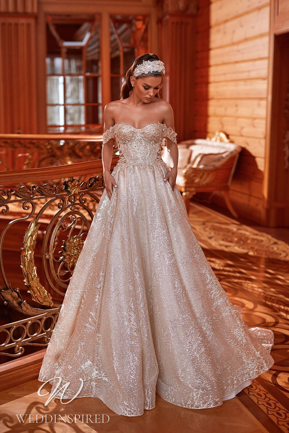 A Pollardi 2021 champagne off the shoulder lace and tulle A-line wedding dress