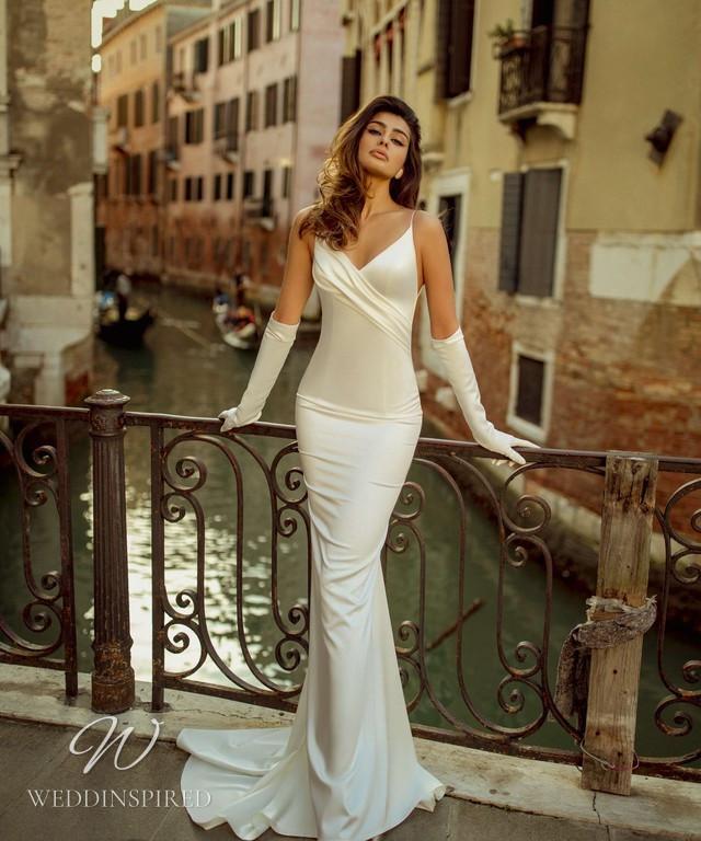 A Rara Avis 2021 glamorous old Hollywood ivory silk mermaid wedding dress with thin straps