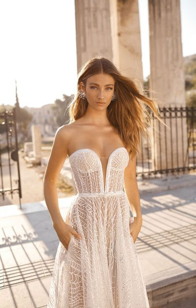 A Berta strapless mesh A-line wedding dress with pockets and a sweetheart neckline