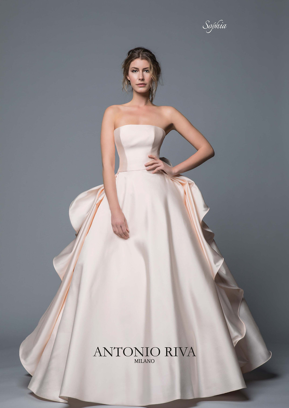 An Antonio Riva 2020 strapless blush silk ball gown wedding dress