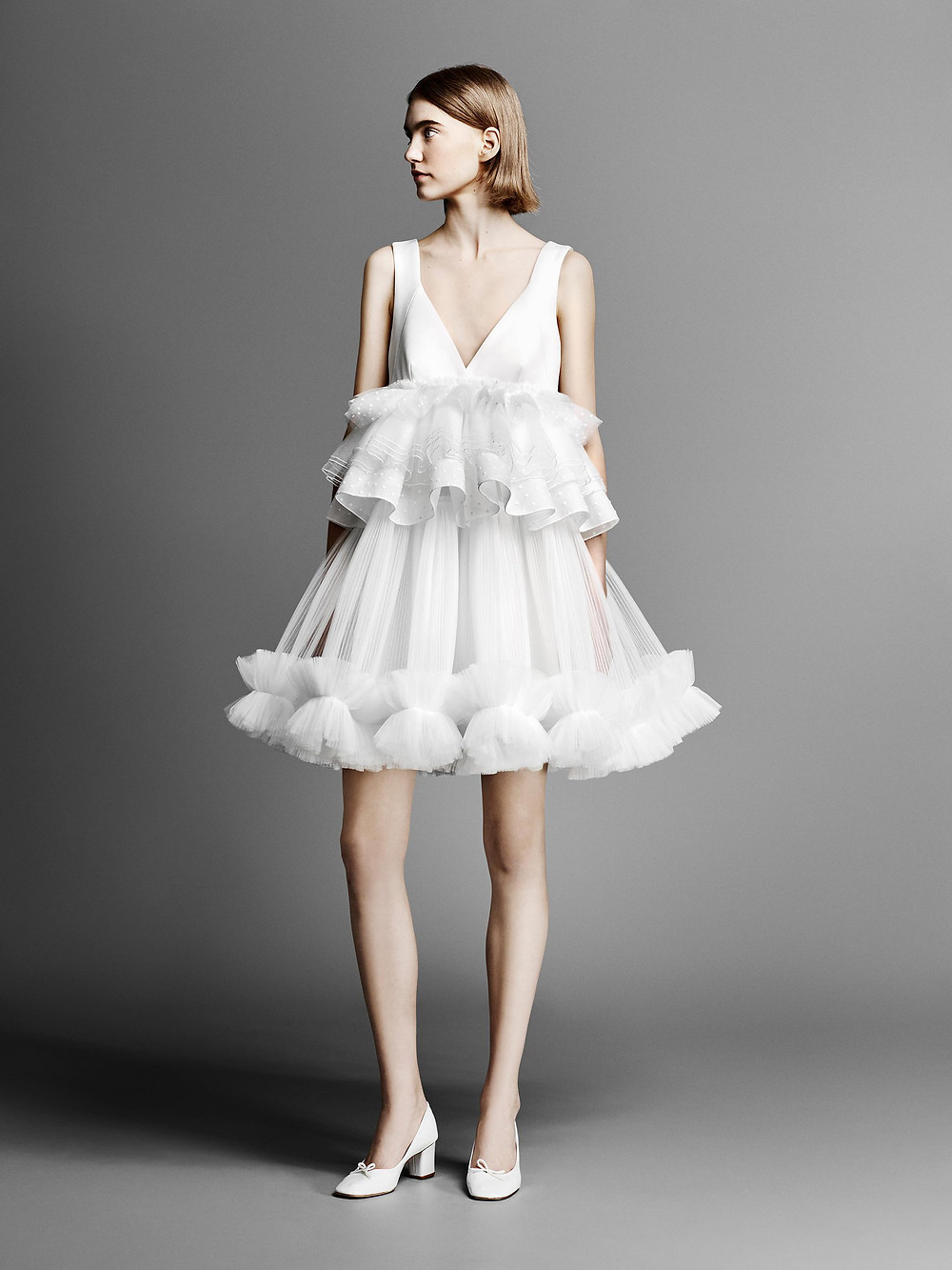 A Viktor & Rolf short ruffle tulle wedding dress